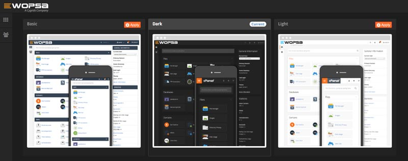 New cpanel themes